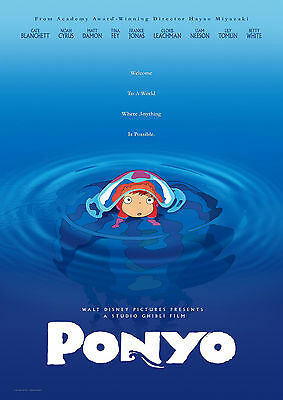 Ponyo Classic Anime Movie Art Large Poster - A0, A1, A2, A3, A4