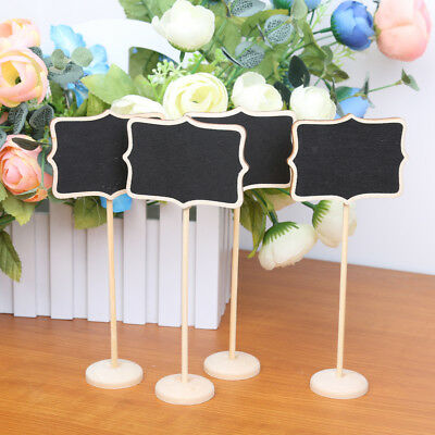 10Pcs Wooden Flower Shape Blackboard with Base for Wedding Number Places