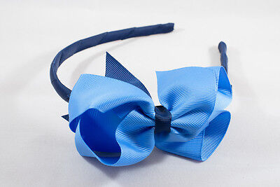 Unit of 6 Large 4 Inch Capri Blue/Navy Blue Bows on Hair Bands Grosgrain