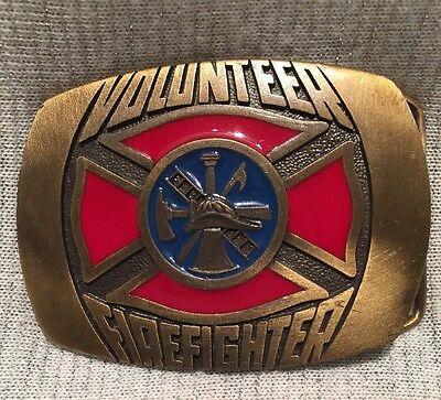 Vintage 1981 Indiana Metal Craft Volunteer Firefighter Belt Buckle