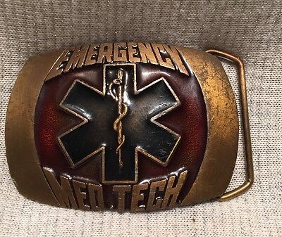 Vintage 1981 Indiana Metal Craft Emergency Med Tech Belt Buckle
