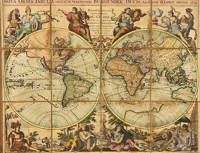 1694 H.  Jaillot Large Antique Map of World Globe Colored RARE framed