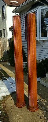 Pair 19thC Oak Victorian Beautifully Aged Fluted Doric Columns Longmeadow Ma