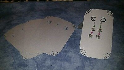 NEW Handmade Earring jewelry display card, 3x5.5, 10 pcs, punched corners, grey