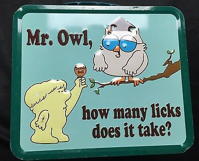 """Tootsie Roll Pop """"Mr. Owl How Many Licks Does It Take?""""Embossed Metal Lunch Box"""