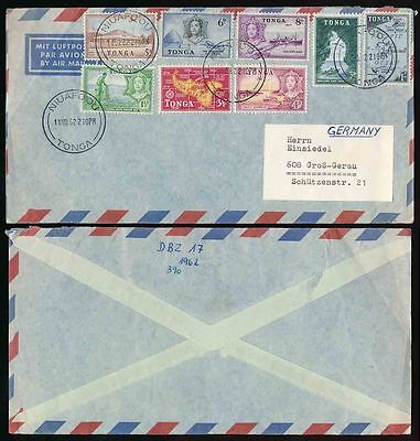 TONGA 1961 MULTI FRANKING AIRMAIL to GERMANY