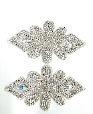 beautiful Glass Crystal Rhinestone Applique Sewing Iron on Trimmings patch