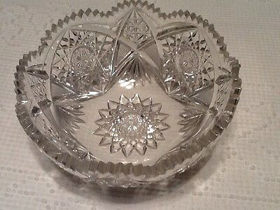 Vintage Heavy Cut Glass Serving Fruit Bowl Hobnail Stars Sawtooth Great Details