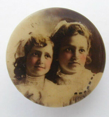 1900's Collar Button Tinted Celluloid Photo 2 Girls