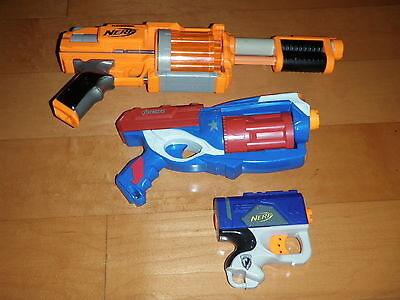 Lot Of 3 NERF Dart Tag 10 Shot Blaster Gun Avengers Single Shot Pistol  (TESTED)