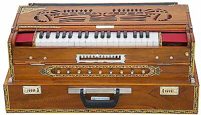 HOME DECOR EDH Harmonium Folding Teak Wood Harmonium 13 Scale Changer