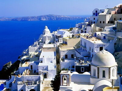Greece White stone buikdings Architecture Mediterranean Sea Wall Print POSTER