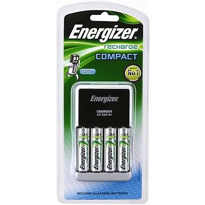ENERGIZER Recharge Compact Charger For AA, AAA, 9V Battery CHCC