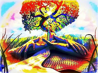 "Psychedelic Trippy Art Silk Cloth Poster 17 x 13""  Decor 60"