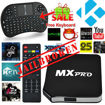 MX Pro Fully Loaded Quad Core Android 4.4 TV Box KODI (XBMC) Free Sports Movies