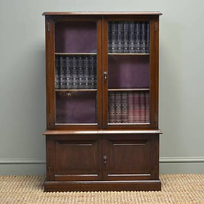 Small Antique Edwardian Walnut Glazed Bookcase on Cupboard
