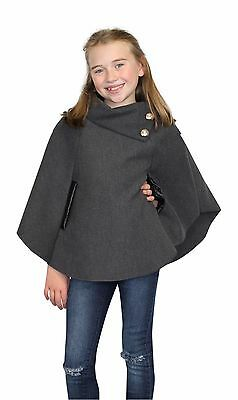 Girls Poncho Cape Assymetrical Girls All Season Coat 3-14 years