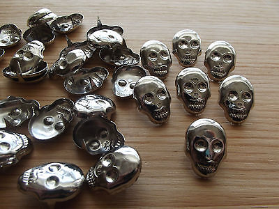 30 skull studs / brads: craft & sewing embellishment: chrome