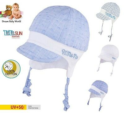 100% Cotton TIE UP hat with UV +50 SUN PROTECTION Spring - Summer BABY BOYS New