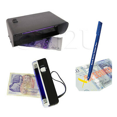 Tester Pen Portable Powered Bank Note Fake Checker UV light Mains Cash Torch