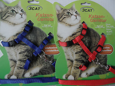 Cat Kitten Adjustable Harness & Lead Set Red Blue Pink Rainbow Yellow Orange