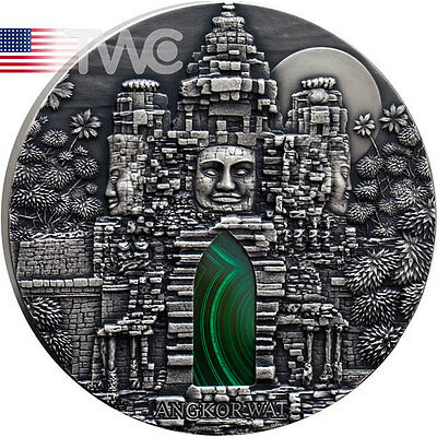 Congo 2016 10000 Fr ANGKOR WAT 1 Kilo kg Antique finish Silver Coin Malachite