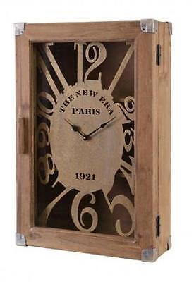 Clock Extra Large Vintage style Quirky Wooden Rustic Wall Clock Suit Case PARIS