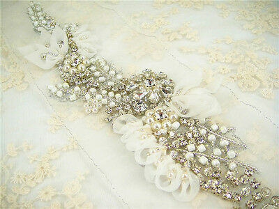 Crystal Belt Pearls Bridal Sash Rhinestone Wedding Accessories Any Colour Ribbon