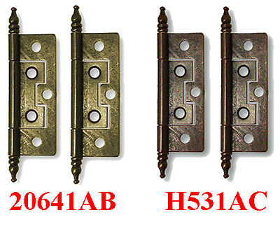 """2.5"""" No Mortise 5 Hole Finial Hinge, Antique Brass, Copper, Lots of 2, 12, or 24"""