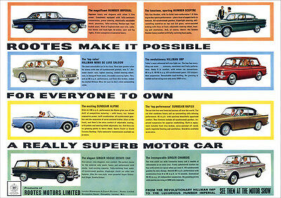 Humber Hillman Sunbeam Singer Rootes Retro A3 Poster Print From Advert 1964