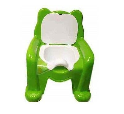 New Green Easy Clean Kids Toddler Potty Training Chair Seat Removable Potty Lid