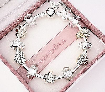 Authentic Pandora Bracelet Silver with WIFE LOVE CELEBRATE  European Charms