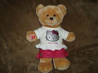 "Build a Bear Teddy Bear Wearing Hello Kitty Outfit Plush 16"" tall"