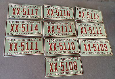 Vintage 1970 Lot Of 10 Oklahoma License Plates Arts Crafts Birdhouse Lp13
