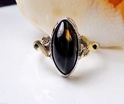 Old Art Deco Sterling Silver 10K GF Ring Clark & Coombs Cats Eye Stone vintage
