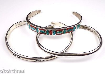 Lot Sterling Silver Cuff Bangle Bracelet Native American Southwest Turquoise