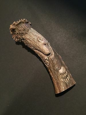 Native Large Carved BEAR, PAW & FEATHER  Antler Knife Handle NWT Canada