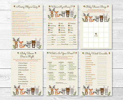 Woodland Animals Baby Shower Games Pack - 6 Printable Games