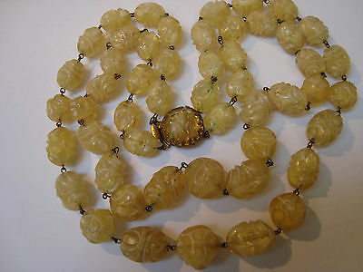 Vntg Carved Iridescent Cream Color Lucite Two Strand Necklace - Egyptian Revival