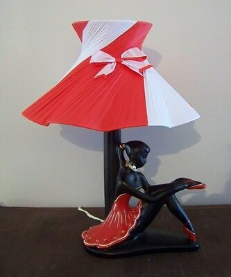 BEAUTIFUL RARE RED & WHITE BALLERINA SHAPED SHADE for BARSONY BLACK LADY LAMP