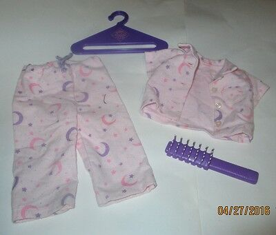 Doll Clothes for 18 Inch American Girl Type, Pink PJ's, 2 pieces w / hanger