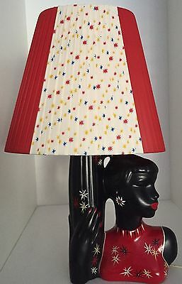 RED & STAR PATTERN LGE *OVAL* PLASTIC RIBBON LAMPSHADE for BARSONY BLACK LADY