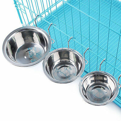 Stainless Steel Pet Dog Feeding Feeder Cage Bowl Dish Rabbit Cat Food Water Cup