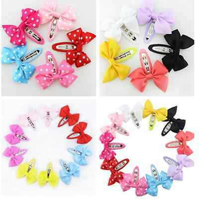 10pcs Girl Baby Kids Ribbon Hair Accessories Bows Snaps Alligator Clips Slides