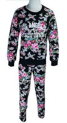 Girls Toddler Floral Tracksuit/Lounge Suit with LA Print 3-14yrs