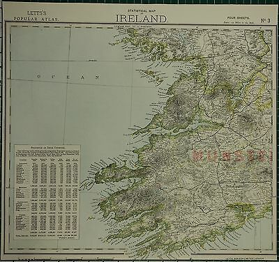 1883 Letts Map ~ Ireland South West Munster Irish Counties Statistics Cork Kerry