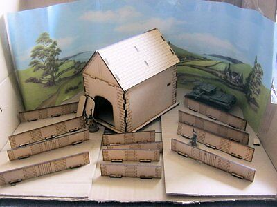 28mm High Barn & Fence Laser Cut MDF Building Scenery  Infinity Bolt Action