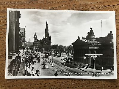 Scottish POSTCARD Princes Street EDINBURGH Lothian TRAMS & Vintage Cars Scotland