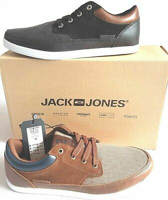 Men's JACK & JONES Leather/Canvas Lace up Casual Deck Shoes Black UK 7 EU 41