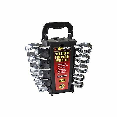 Am-tech Stubby Combination Wrench Set 10mm-19mm Short Ring Spanner Open Ended